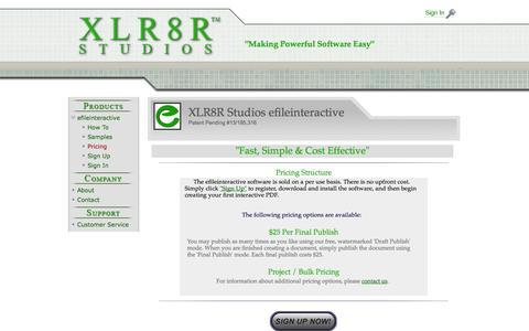 Screenshot of Pricing Page xlr8rstudios.com - efileinteractive - captured Oct. 4, 2014
