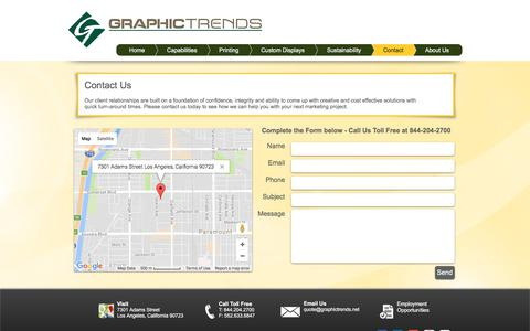 Screenshot of Contact Page graphictrends.net - Graphic Trends - Contact Us - captured Sept. 17, 2017