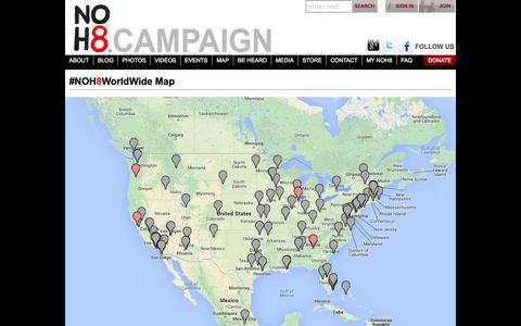 Screenshot of Maps & Directions Page noh8campaign.com - Events | NOH8 Campaign - captured Sept. 23, 2014