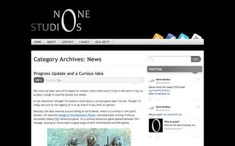 Screenshot of Press Page none-studios.com - News   None Studios - captured Aug. 17, 2016