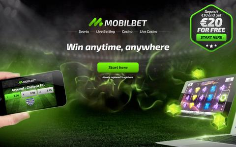 Screenshot of Home Page mobilbet.com - Mobilbet | Sports betting and Casino on your mobile, tablet or desktop - captured Oct. 1, 2015
