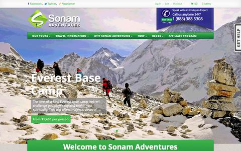 Screenshot of Home Page sonamadventures.com - Best Adventure Travel and Tours Features Nepal,Tibet,Bhutan, Sonam Adventures - captured Oct. 6, 2014