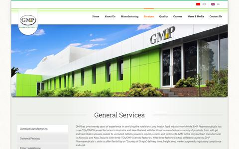 Screenshot of Services Page gmp.com.au - Services - GMP Pharmaceuticals - captured Oct. 16, 2016