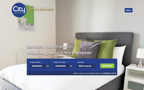 Screenshot of Home Page cityapt.co.uk - Serviced Apartments in Milton Keynes & Northampton | City Apartments - captured Sept. 28, 2018