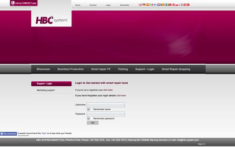 Screenshot of Login Page hbc-system.com - Get started with smart repairtools from HBC System - captured Sept. 26, 2014