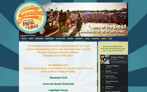 Screenshot of Home Page virginiakeygrassroots.com - Virginia Key GrassRoots Festival   Festival of Music and Dance in Miami, FL - captured Jan. 24, 2017