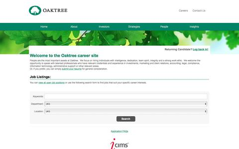Screenshot of Jobs Page icims.com - Careers Center - Welcome to the Oaktree career site - captured June 15, 2016