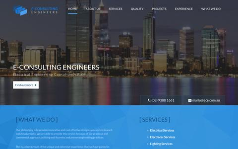 Screenshot of Home Page ece.com.au - Electrical Engineering Consultant Perth | Electrical Engineer Design Company WA - captured Oct. 13, 2017