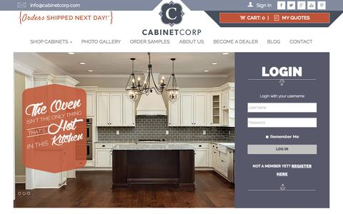 Screenshot of Home Page Login Page cabinetcorp.com - Home | CabinetCorp - captured Oct. 1, 2014
