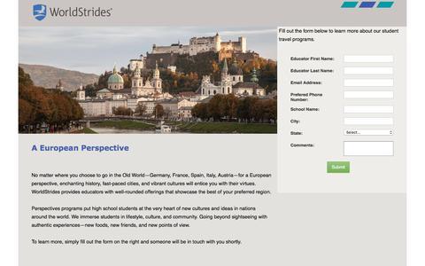Screenshot of Landing Page educationaltravel.com captured April 14, 2016