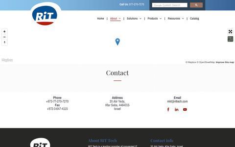 Screenshot of Contact Page rittech.com - RiT Tech Ltd.   Contact - captured Nov. 3, 2018
