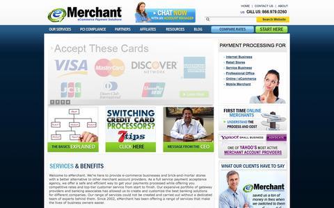 Screenshot of Home Page emerchant.com - Merchant and Credit Card Processing Services - eMerchant - captured Oct. 3, 2014