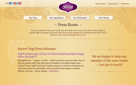 Screenshot of Press Page yogiproducts.com - Yogi Tea Press Room And Media Relations | Yogi Tea - captured Sept. 19, 2014
