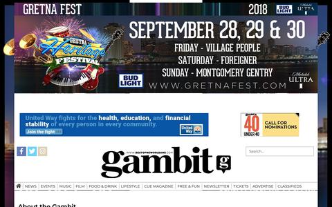 Screenshot of About Page theadvocate.com - About the Gambit | Site | theadvocate.com - captured Sept. 27, 2018