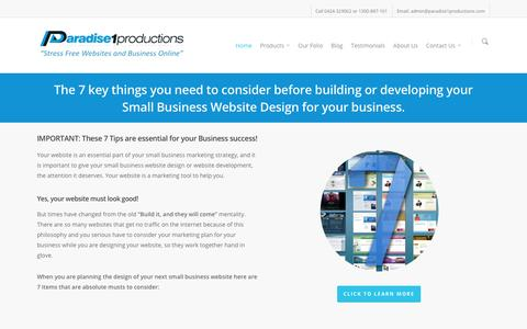 Screenshot of Home Page paradise1productions.com - Small Business Website Design Development | Paradise1Productions - captured May 24, 2016