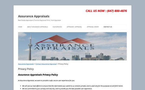 Screenshot of Privacy Page assuranceappraisals.com - Privacy Policy| | Assurance Appraisals - captured Oct. 4, 2014