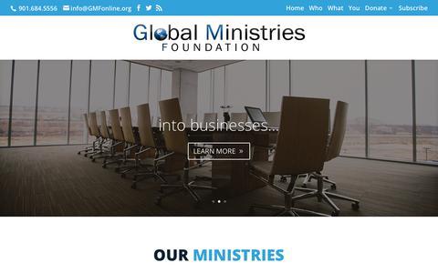 Screenshot of Home Page gmfonline.org - home - Global Ministries Foundation - captured Sept. 28, 2018