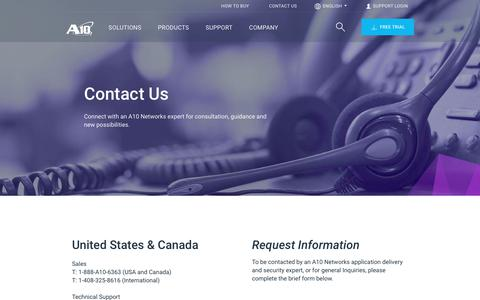 Screenshot of Contact Page a10networks.com - Contact Us | A10 Networks - captured May 22, 2019