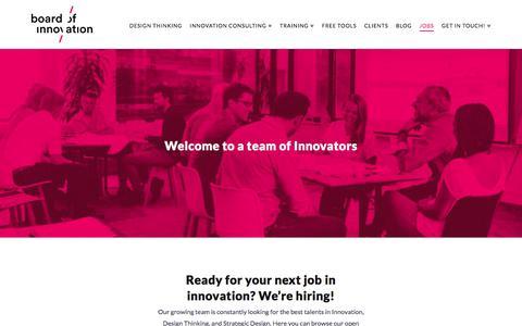 Screenshot of Jobs Page boardofinnovation.com - Jobs: Innovation Consultant / Design Strategist / Business Designer - captured July 30, 2018