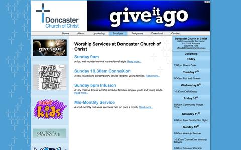 Screenshot of Services Page doncasterchurch.org.au - Worship Services at Doncaster Church of Christ - Doncaster Church of Christ - captured Oct. 5, 2014