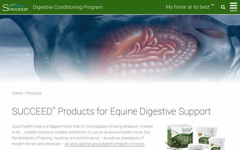 Screenshot of Products Page succeed-equine.com - SUCCEED Horse Health Products for Equine Digestive Health - captured June 22, 2017