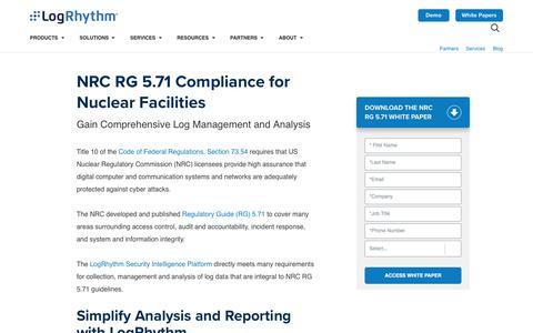 NRC RG 5.71 Compliance for Nuclear Facilities | LogRhythm