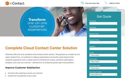 Screenshot of Landing Page incontact.com - inContact Contact Center Software - Request Quote - captured Sept. 19, 2017