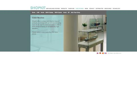 Screenshot of Case Studies Page shopkit.com - Case Studies - Shopkit Group - Shop Display Systems, Bespoke Shop Fittings - captured Oct. 7, 2014
