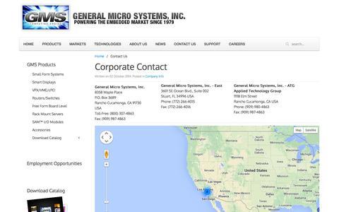Screenshot of Contact Page gms4sbc.com - Contact Us - captured Oct. 2, 2014