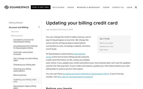 Screenshot of Support Page squarespace.com - Updating your billing credit card – Squarespace Help - captured Feb. 11, 2019
