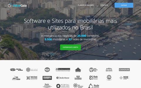 Screenshot of Home Page valuegaia.com.br - ValueGaia - Software n°1 do mercado imobiliário - captured Jan. 15, 2016