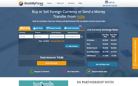Screenshot of Home Page bookmyforex.com - Online Foreign Money Exchange, Money Transfer From India | BookMyForex - captured Sept. 13, 2014
