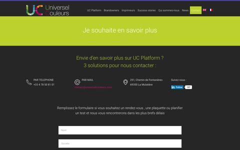 Screenshot of Contact Page universelcouleurs.com - Contact Universel Couleurs : pour une qualité couleur de vos productions - captured Oct. 20, 2018