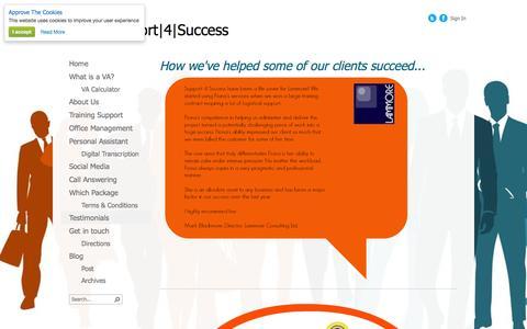Screenshot of Testimonials Page support4success.co.uk - Testimonials - captured Oct. 1, 2014