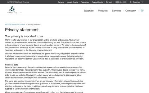 Screenshot of Privacy Page wittenstein-us.com - Privacy statement - WITTENSTEIN North America - captured Oct. 19, 2017