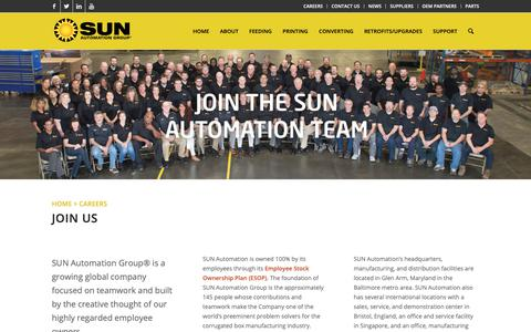Screenshot of Jobs Page sunautomation.com - Careers | SUN Automation Group Careers - captured Oct. 1, 2018