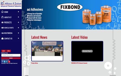 Screenshot of Home Page aci-adhesive.com - Advanced chemical industries (ACI) - captured Nov. 13, 2015