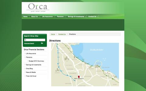 Screenshot of Maps & Directions Page orca.ie - Directions - captured Oct. 9, 2014