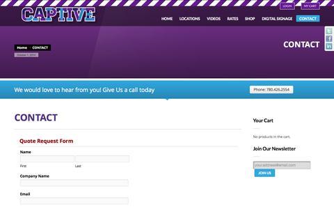 Screenshot of Contact Page captiveoutdoor.com - Captive Outdoor Media   CONTACT - captured Oct. 1, 2014