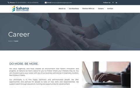 Screenshot of Jobs Page sahanagroup.com - Sahana Group : A Multifaceted Group of Companies I Realty I Hospitality I News I Aviation I SRA Rehabilitation - captured Sept. 28, 2018