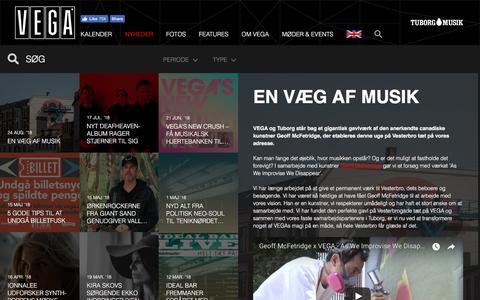 Screenshot of Press Page vega.dk - En væg af musik - VEGA - VEGA   Musikkens hus - captured Aug. 27, 2018