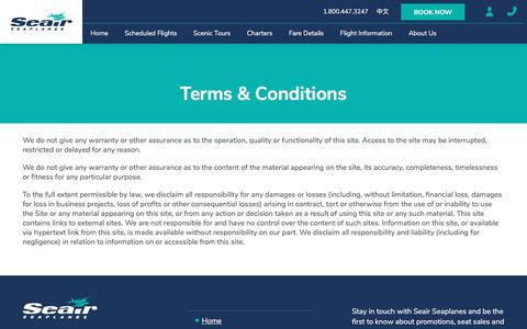 Screenshot of Terms Page seairseaplanes.com - Terms & Conditions - Seair Seaplanes - captured July 28, 2018