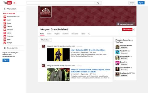 Screenshot of YouTube Page youtube.com - Inkary on Granville Island  - YouTube - captured Oct. 23, 2014