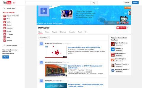 Screenshot of YouTube Page youtube.com - MONEOTV  - YouTube - captured Nov. 3, 2014