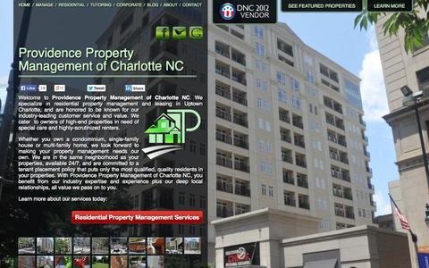Screenshot of Home Page uptowncharlottepropertymanagement.com - Property Management Charlotte NC | Providence Properties - captured Oct. 3, 2014