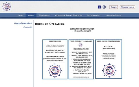 Screenshot of Hours Page rosettaresources.com - Hours of Operation - Jefferson Yacht Club - captured July 13, 2018