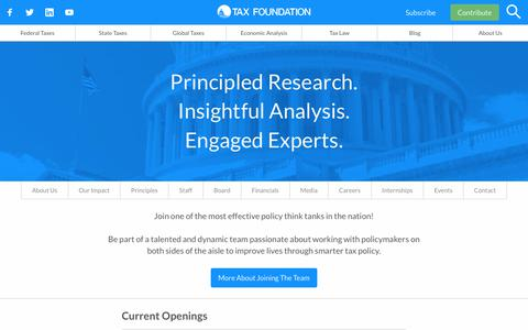 Screenshot of Jobs Page taxfoundation.org - Tax Foundation Careers | America's Leading Tax Policy Organization - captured Oct. 7, 2019