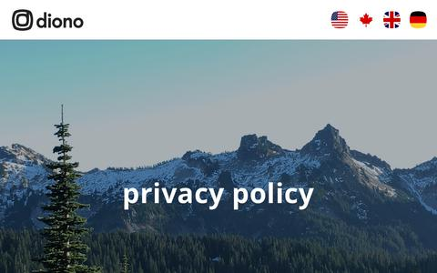 Screenshot of Privacy Page diono.com - Privacy Policy - diono - captured July 22, 2019