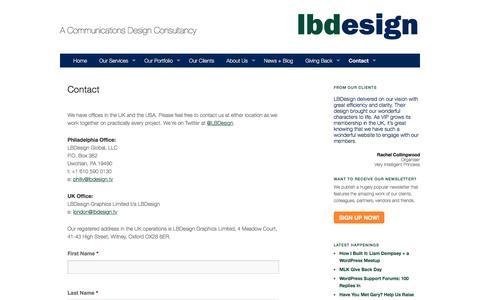 Screenshot of Contact Page lbdesign.tv - Contact | LBDesign - captured May 25, 2017