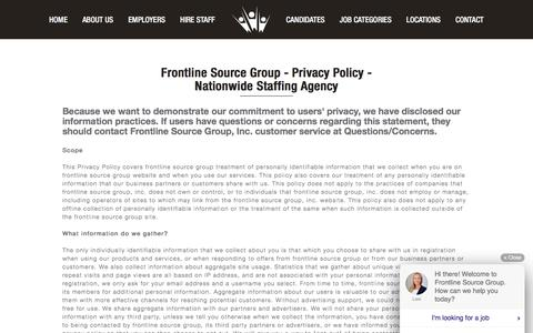 Screenshot of Privacy Page frontlinesourcegroup.com - Staffing Agency Privacy Policy - Frontline Source Group - captured Aug. 31, 2018